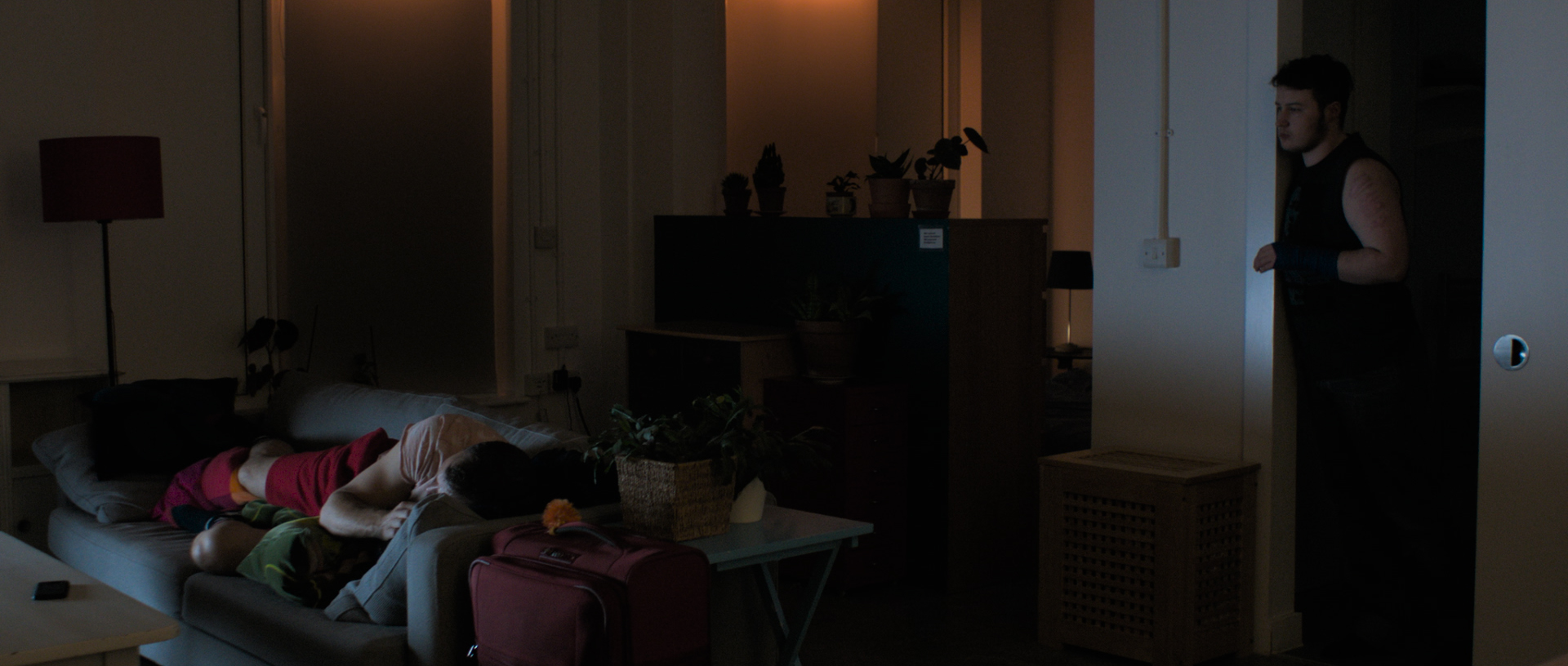 Orin looks over the sofa to see Anto sleeping by the light of the telly